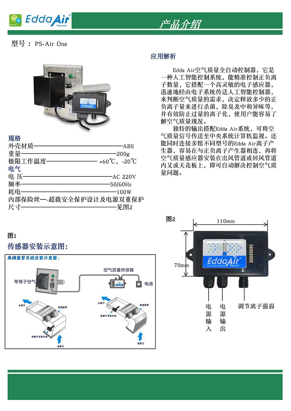 等离子空气品质传感器  品     牌:Edda Air  PS-Air One     70*110*40mm  电     压:AC   220V  功     率:20W   Edda Air空气质量全自动控制器(PS系列),它是一种人工智能控制系统,能精准控制正负离子数量,它搭配一个高灵敏的电子感应器,迅速地经由电子系统传送人工智能控制器,来判断空气质量的需求,决定释放多少的正负离子量来进行杀菌,除臭及中和异味等,并有效防止过量的离子化,使用户能容易了解空气品质现况。         独特的(PS)系列输出搭配EDDAAIR系统,可将空气品质信号传送至中央系统电脑监视。还能同时连接多组不同型号的Edda Air离子产生器,容易在与正负离子产生器相连,再将空气品质感应器安装在出风管道或回风管道内又或天花板上,即可自动解决控制空气品质问题。